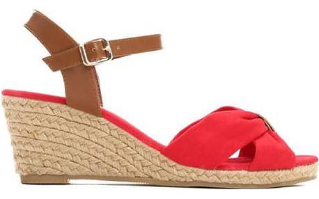 Dámské červené sandály na klínku Katie 1484