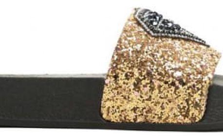 Dámské zlaté pantofle Diamond 049
