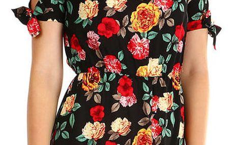 Dámské letní květované šaty černá