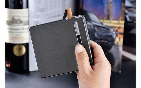 Tenké pouzdro na cigarety s USB dobíjecím zapalovačem