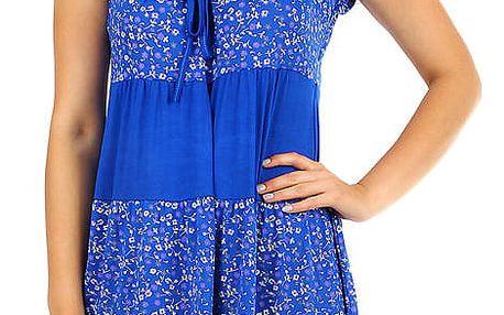 Dámské plážové květované šaty s krátkým rukávem modrá