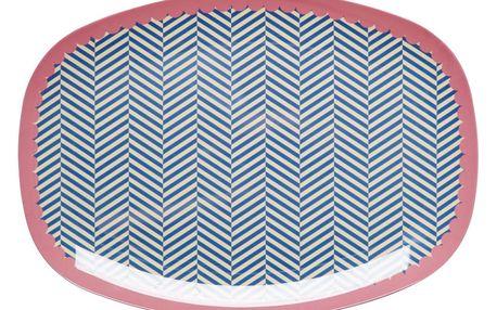 rice Melaminový tác Sailor stripe, růžová barva, modrá barva, melamin