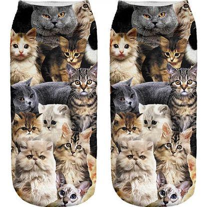 Kotníkové ponožky s kočkami - dodání do 2 dnů