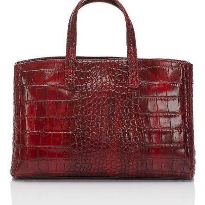 Červená kožená kabelka Lisa Minardi Magnata