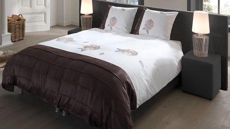 Povlečení na dvoulůžko z bavlněného saténu Muller Textiels White/Brown, 200 x 220 cm