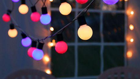 STAR TRADING Barevný venkovní LED řetěz - 20 žárovek, multi barva, plast