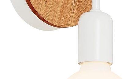Bílé nástěnné svítidlo s dřevěným detailem Valetta