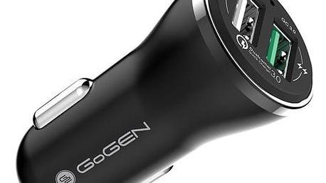Nabíječka do auta GoGEN CHQ 27, 2x USB, 2,4A s funkcí rychlonabíjení QC 3.0 černá