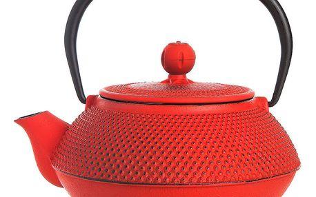 Červená litinová čajová konvice Bambum Taşev Linden, objem 800ml