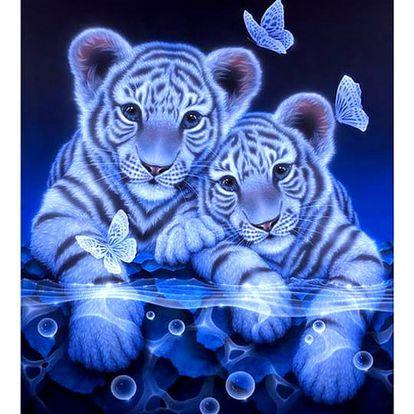 5D obraz s kamínky - Tygříci s motýly