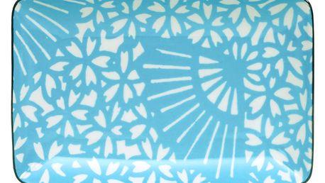 Tyrkysovo-bílý porcelánový talíř Tokyo Design Studio Shiki, 21 x 13,5cm