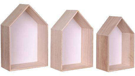 Sada 3 bílých dřevěných polic House Nordic Verona