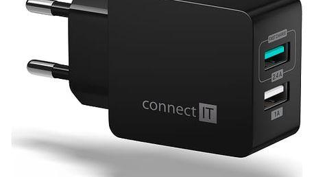 Nabíječka do sítě Connect IT Fast Charge 2x USB, 3,4A s funkcí rychlonabíjení černá (CWC-2015-BK)