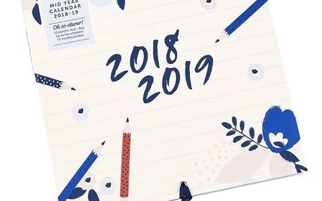 Nástěnný kalendář pro rok 2018/2019 s lepíky a úložnými kapsami Busy B