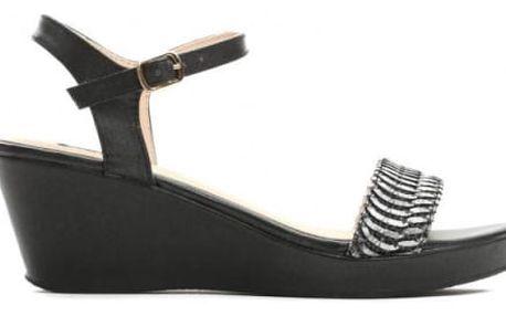 Dámské černé sandály na klínku Zanya 1458