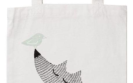 Bloomingville Dětská plátěná taška Fox, bílá barva, textil