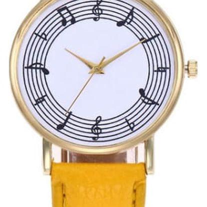 Dámské hodinky s notovou osnovou - různé barvy
