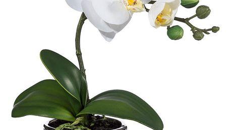 Umělá Orchidej v květináči bílá, 35 cm 1716302-40