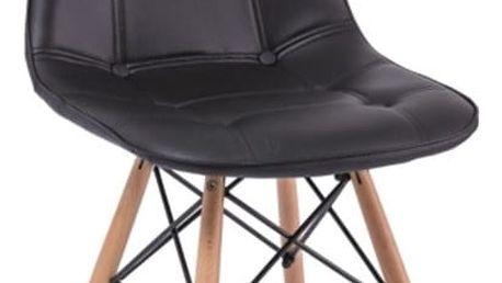 Černá jídelní židle ze dřeva a ekokůže Signal Axel