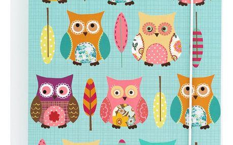 Tyrkysový zápisník A5 GO Stationery Owls