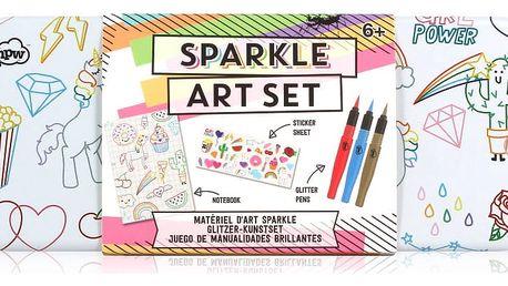 Set třpytivých psacích potřeb v kovovém penálu npw™ Sparkle