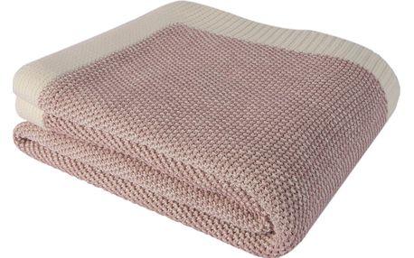 Růžový bavlněný přehoz Clen, 130 x 170 cm