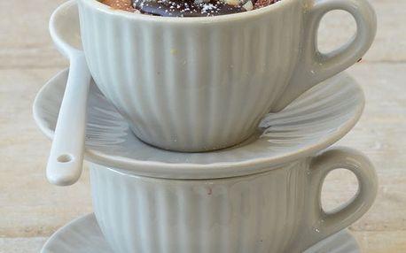 IB LAURSEN Šálek s podšálkem Mini Mynte latte, béžová barva, keramika 100 ml