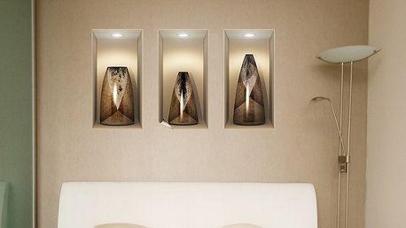Sada 3 samolepek s 3D efektem Ambiance Wooden Vases