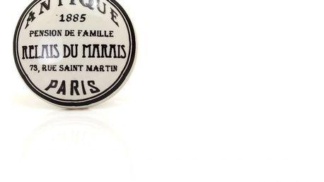 La finesse Porcelánová úchytka Antique, černá barva, porcelán 40 mm