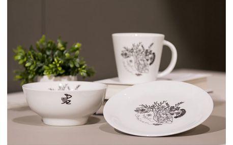 Ručně dekorovaný talíř z karlovarského porcelánu s motivem Mysli srdcem od Jitky Tomanové pro KlokArt