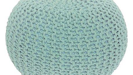 Pletený taburet, mentol-peppermint bavlna, GOBI TYP 2 0000190334 Tempo Kondela