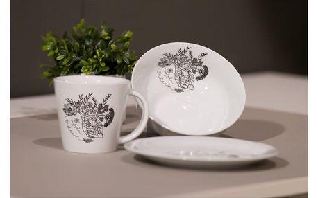 Ručně dekorovaný hrnek z karlovarského porcelánu s motivem Mysli srdcem od Jitky Tomanové pro KlokArt, 200ml