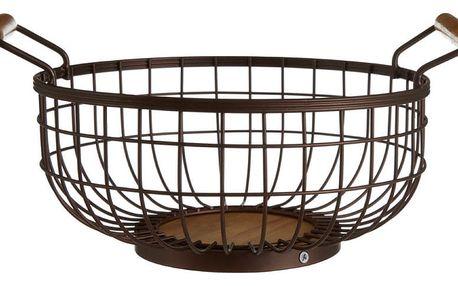 Železný košík na ovoce bronzové barvy se dřevěnými úchyty Premier Housewares