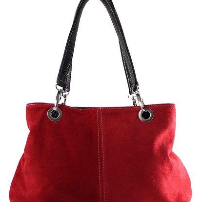 Červená kožená kabelka Chicca Borse Westo