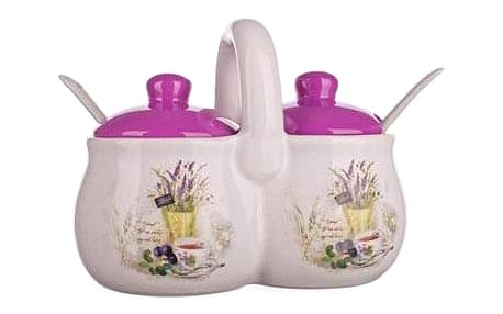 Banquet Sada keramických dóz se lžičkami Lavender 210 ml, 2 ks
