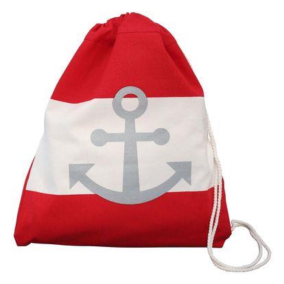 Krasilnikoff Látkový batůžek Red Anchor, červená barva, bílá barva, textil