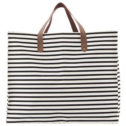 House Doctor Nákupní taška Stripes - širší, černá barva, bílá barva, textil