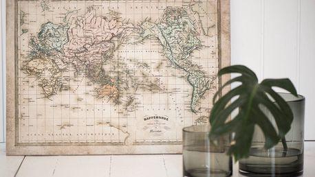 IB LAURSEN Obraz World map, přírodní barva, dřevotříska