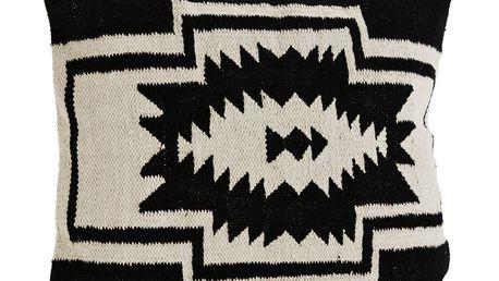 MADAM STOLTZ Povlak na polštář Black/Off white 60x60 cm, černá barva, krémová barva, textil