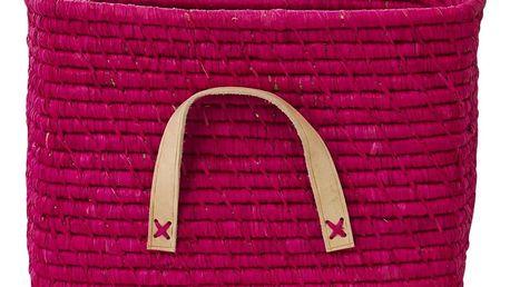 rice Slaměný košík s koženými uchy Fuchsia, růžová barva, proutí, kůže