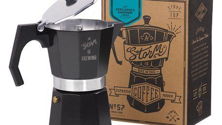 GENTLEMEN'S HARDWARE Moka konvička na espresso, černá barva, stříbrná barva, kov
