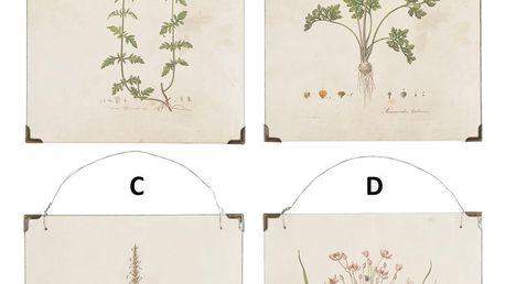 IB LAURSEN Obrázky na dřevě Flower Typ C, přírodní barva, dřevotříska