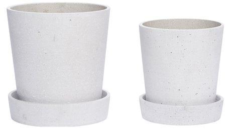 Hübsch Betonový obal na květináč s miskou Grey Větší, šedá barva, beton 17cmx19cm