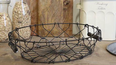 Chic Antique Skládací kovový košík Antique Coal, černá barva, kov