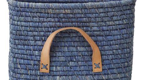 rice Slaměný košík s koženými uchy Blue, modrá barva, proutí, kůže