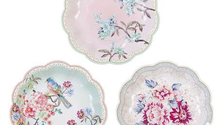 Talking Tables Papírové talířky Romantic - 12 ks, růžová barva, papír