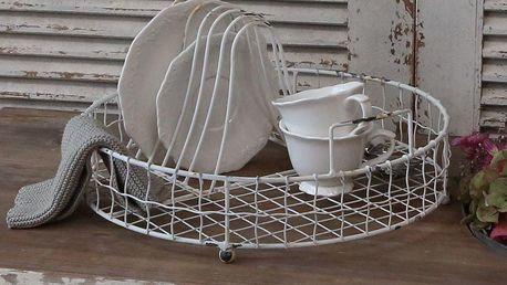 Chic Antique Kulatý odkapávač na nádobí Antique White, krémová barva, kov