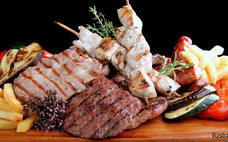 Dobroty z grilu pro 4: 600 g masa a hranolky