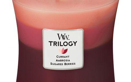 WoodWick Vonná svíčka WoodWick Trilogy Ovocné trio 275 g, červená barva, sklo, vosk