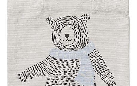 Bloomingville Plátěná taška Bear, modrá barva, černá barva, bílá barva, textil
